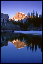 Half-Dome reflected in Merced River, winter sunset. Yosemite National Park, California, USA. (color)