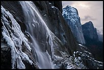 Seasonal waterfall and Cathedral Rocks in winter. Yosemite National Park ( color)