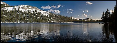 Tenaya Lake and peak in early spring. Yosemite National Park (Panoramic color)