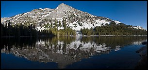 Tenaya Lake and snow covered peaks. Yosemite National Park (Panoramic color)