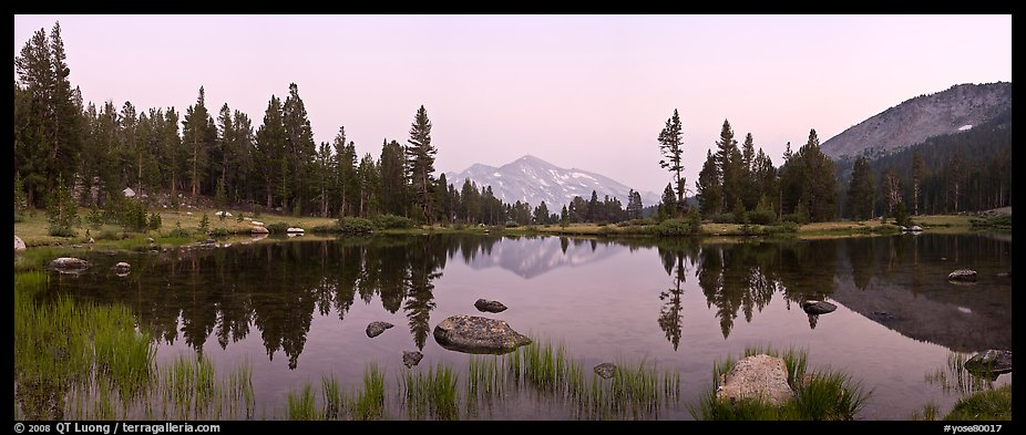 Tarn near Tioga Pass and Mammoth Peak at dusk. Yosemite National Park (color)