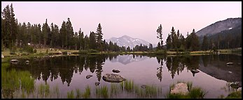 Tarn near Tioga Pass and Mammoth Peak at dusk. Yosemite National Park (Panoramic color)