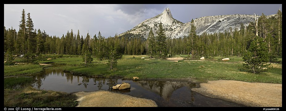 Stream and Cathedral Peak in storm light. Yosemite National Park (color)