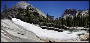 Bend of the Merced River in Upper Merced River Canyon. Yosemite National Park (Panoramic color)