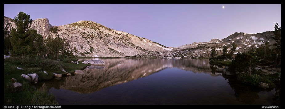 Alpine lake in cirque at dusk, Vogelsang. Yosemite National Park (color)