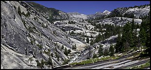 Smooth granite scenery in the Upper Merced River Canyon. Yosemite National Park (Panoramic color)