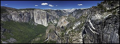 View of West Yosemite Valley. Yosemite National Park (Panoramic color)