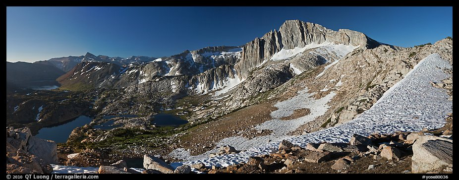 North Peak and Twenty Lakes Basin from McCabe Pass, early morning. Yosemite National Park (color)