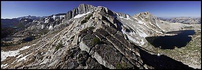 North Peak and Upper McCabe Lake from North Ridge. Yosemite National Park (Panoramic color)