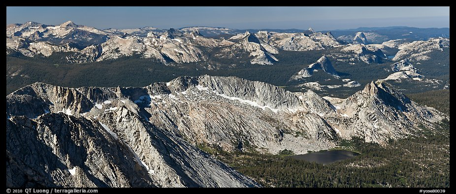 Ragged Peak range, Cathedral Range, and domes from Mount Conness. Yosemite National Park (color)