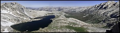 Lake valley from McCabbe Pass. Yosemite National Park (Panoramic color)