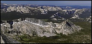 Aerial view of High Yosemite country. Yosemite National Park (Panoramic color)