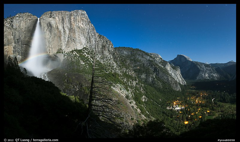 Upper Yosemite Fall with moonbow, Yosemite Village, and Half-Dome. Yosemite National Park (color)