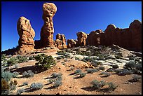 Garden of the Eden, a cluster of pinnacles and monoliths. Arches National Park, Utah, USA.