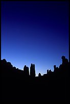 Sandstone pillars in Klondike Bluffs, dusk. Arches National Park, Utah, USA. (color)
