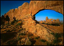 Windows with view of Turret Arch from opening. Arches National Park, Utah, USA.