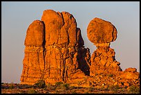 Balanced rock and sandstone tower. Arches National Park, Utah, USA. (color)