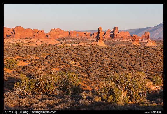 Desert shrub, flatlands, and Windows group in distance. Arches National Park (color)