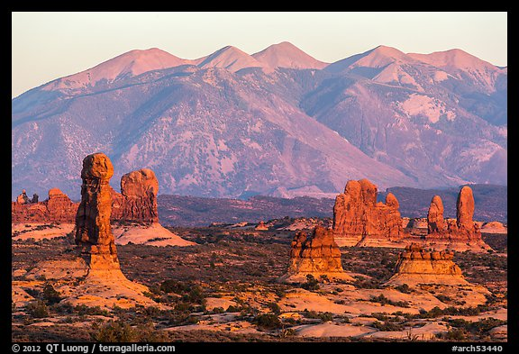 Sandstone pillars and La Sal Mountains. Arches National Park (color)