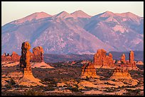Sandstone pillars and La Sal Mountains. Arches National Park, Utah, USA. (color)