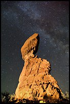 Balanced rock and Milky Way. Arches National Park, Utah, USA. (color)