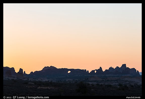 Windows Group backlit at sunrise. Arches National Park (color)