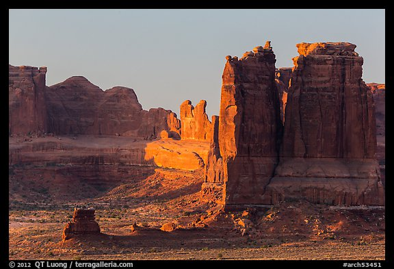 Organ and Courthouse Towers at sunrise. Arches National Park (color)