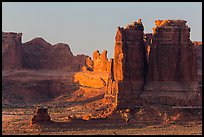 Organ and Courthouse Towers at sunrise. Arches National Park ( color)