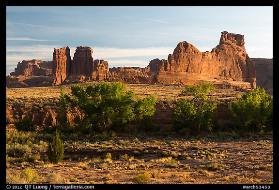Cottonwoods of Courthouse Wash and Courthouse Towers. Arches National Park (color)