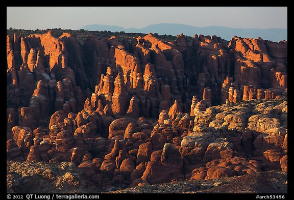 Fiery Furnace fins on hillside. Arches National Park (color)