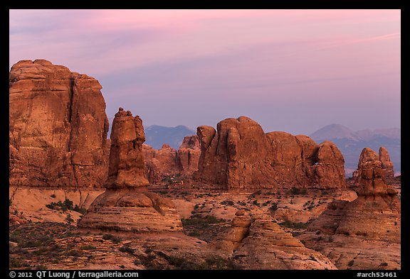 Entrada Sandstone towers seen from Garden of Eden at sunset. Arches National Park (color)