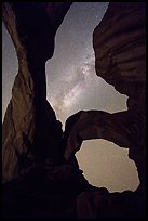 Milky Way appearing above Double Arch. Arches National Park, Utah, USA. (color)