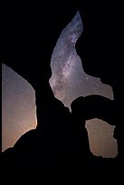 Double Arch with stars and Milky Way. Arches National Park, Utah, USA. (color)