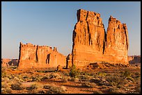 Tower of Babel and Organ at sunrise. Arches National Park, Utah, USA. (color)