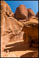 Sand floor, Sand Dune Arch, and towers. Arches National Park, Utah, USA. (color)