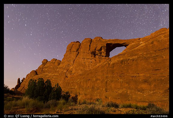 Moonlit Skyline Arch. Arches National Park (color)