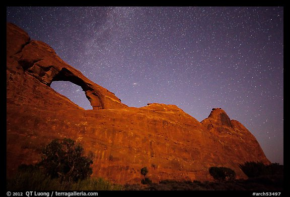 Skyline Arch at night with starry sky. Arches National Park (color)