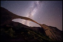 Landscape Arch bissected by Milky Way. Arches National Park, Utah, USA. (color)
