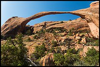 Landscape Arch with fallen rocks. Arches National Park, Utah, USA. (color)