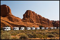 RVs parked at Devils Garden trailhead. Arches National Park ( color)