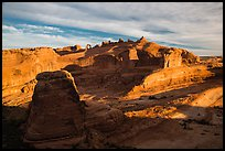 Winter Camp Wash and Delicate Arch at sunrise. Arches National Park ( color)
