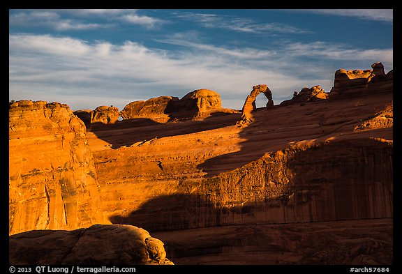 Delicate Arch and Winter Camp Wash Amphitheater. Arches National Park (color)
