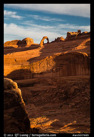 Delicate Arch atop steep cliff. Arches National Park (color)