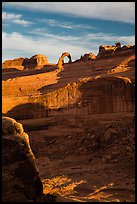 Delicate Arch atop steep cliff. Arches National Park, Utah, USA. (color)