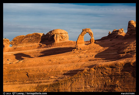 Delicate Arch and Frame Arch, early morning. Arches National Park (color)