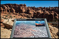 Interpretative sign, Fiery Furnace. Arches National Park, Utah, USA. (color)