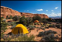 Tent camping. Arches National Park, Utah, USA. (color)
