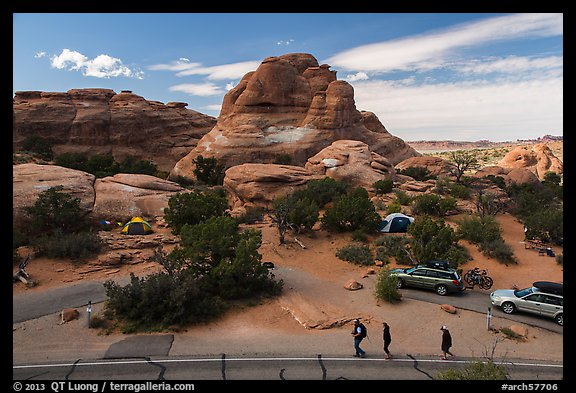 People walking in Devils Garden  Campground. Arches National Park (color)