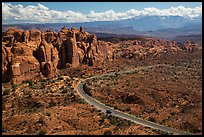 Scenic road and Fiery Furnace fins. Arches National Park, Utah, USA. (color)