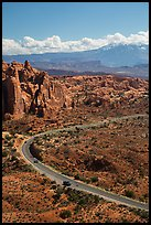 Scenic road, Fiery Furnace, and La Sal mountains. Arches National Park, Utah, USA. (color)